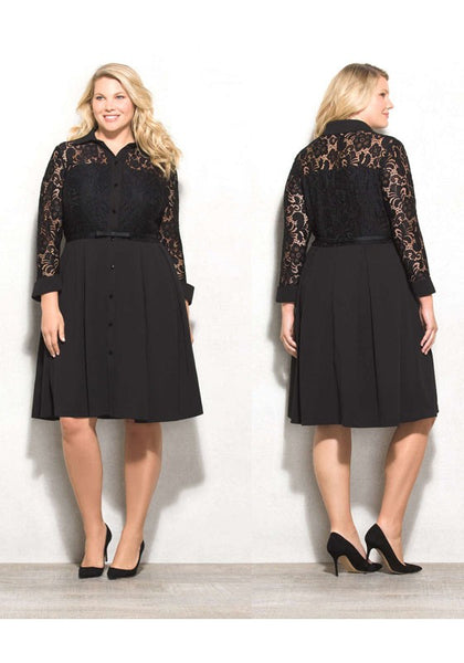 Black Patchwork Lace Hollow-out Single Breasted Turndown Collar Plus Size Midi Dress