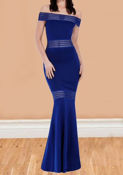 Royal Blue Patchwork Grenadine Off Shoulder Backless Mermaid Banquet Elegant Party Maxi Dress