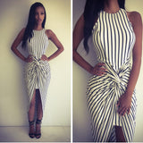 White-Black Striped Print Irregular High-Low Swallowtail Ruched Las Vegas Maxi Dress