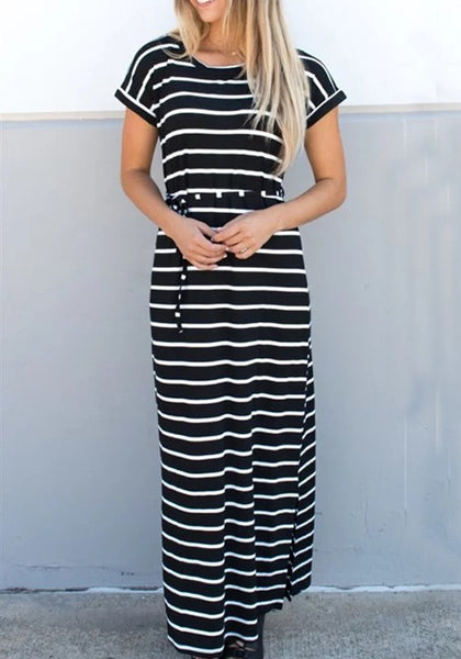 Black-White Striped Drawstring Lace-up Casual Maxi Dress