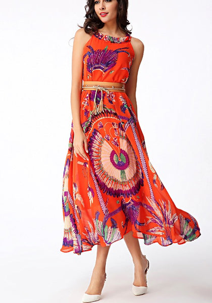 Orange Floral Print Belt Draped Round Neck Casual Maxi Dress
