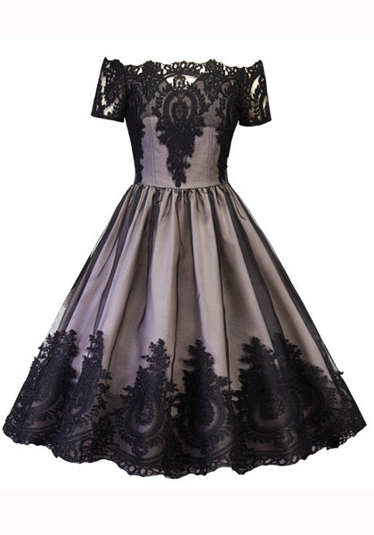 Black Patchwork Lace Grenadine Draped Boat Neck Short Sleeve Midi Dress