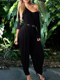 New Black One Off Shoulder Pleated Backless Long Sleeve Long Casual Harem Jumpsuit