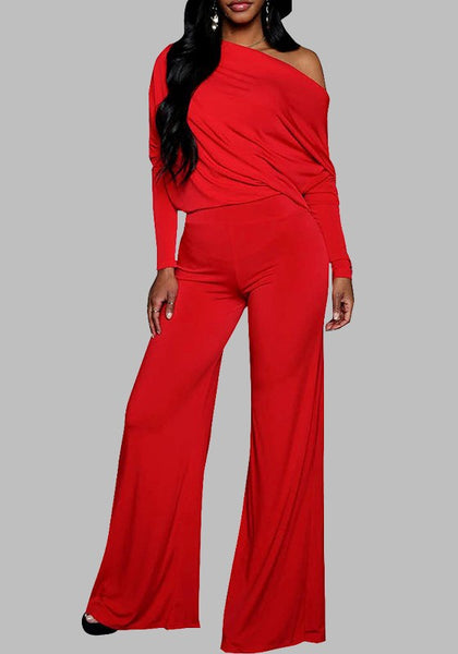 Red Irregular Wide Leg Long Sleeve Formal Off Shoulder Casual Long Jumpsuit