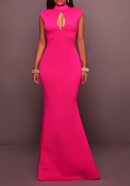 Rose Carmine Ruffle Backless Cut Out Mermaid Elegant Party Maxi Dress