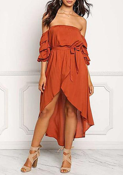 Nacarat Irregular Sashes Draped Off Shoulder Backless High-low Bohemian Maxi Dress