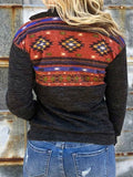 New Dark Grey Tribal Print Zipper Pockets Long Sleeve Casual Sweatshirt