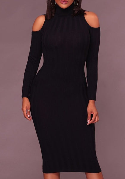 Black Long Sleeve Round Neck Slim fashion Midi Dress