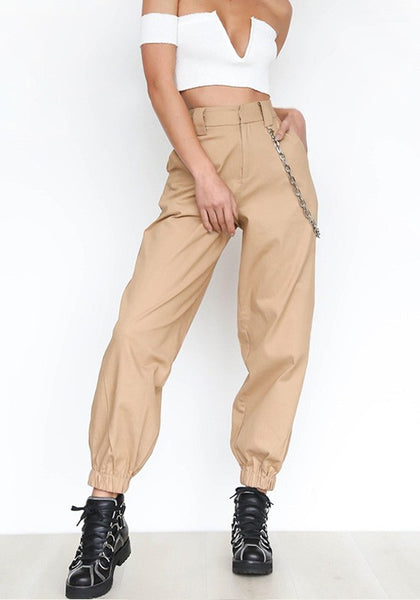 Khaki Plain Chain Zipper Pockets High Waisted Casual Long Pants
