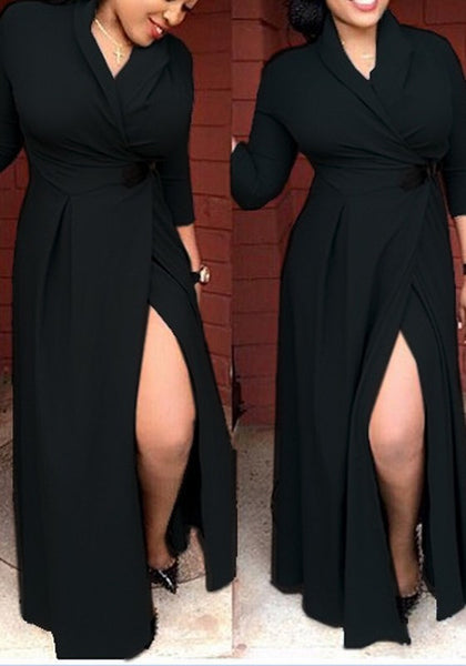 Black Plain Side Silt Turndown Collar Maxi Dress