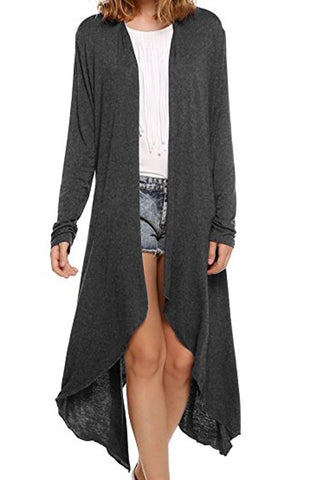 Grey Irregular Long Sleeve Fashion Cardigan Outerwear