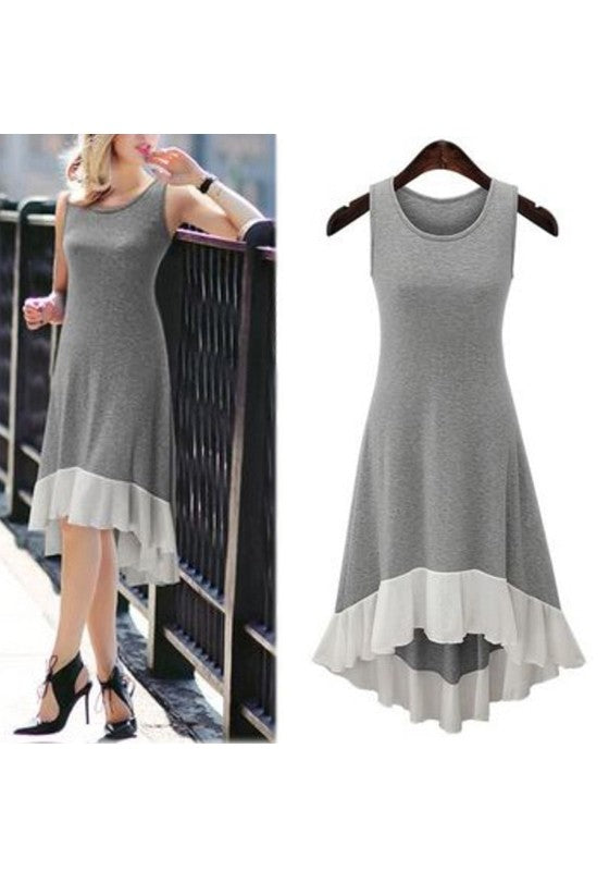 Grey Patchwork Ruffle Irregular Round Neck Fashion Midi Dress