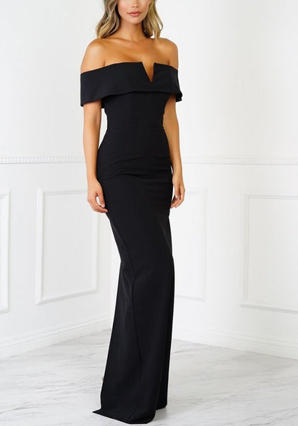Black Cut Out Zipper V-neck Short Sleeve Maxi Dress
