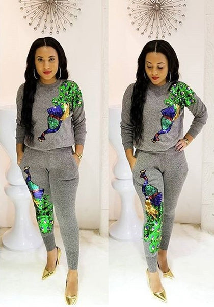 Grey Peacock Pattern Sequin Pockets Sparkly High Waisted Two Piece Clubwear Long Jumpsuit