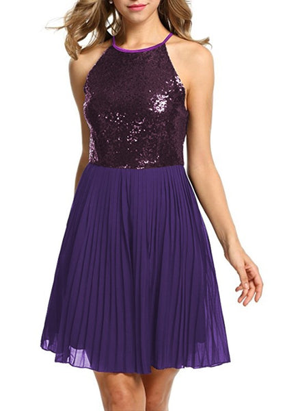 Purple Patchwork Cut Out Sequin Pleated Spaghetti Strap Midi Dress