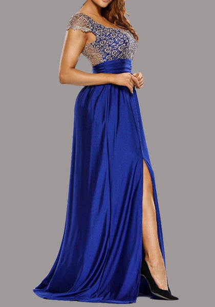 Royal Blue Patchwork Lace Slit Backless Round Neck Bridesmaids Banquet Prom Maxi Dress
