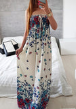 White Floral Off Shoulder Draped Drawstring Bohemian Sweet Party Maxi Dress