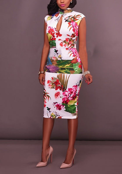 White Floral Cut Out Ruffle High Neck Elegant Midi Dress