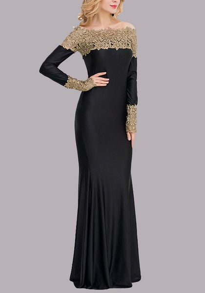 Black Patchwork Lace Draped Off Shoulder Bridesmaid Mermaid Prom Evening Party Maxi Dress