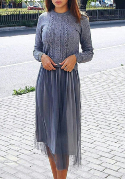Grey Grenadine Round Neck Long Sleeve Fashion Midi Dress