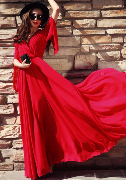 Red Draped V-neck Short Sleeve Bohemian Prom Evening Party Maxi Dress