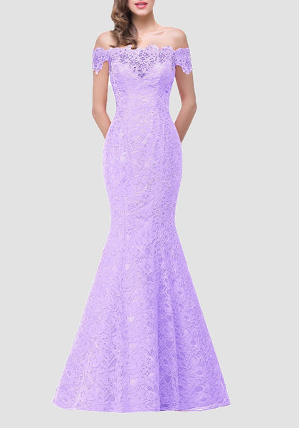 Purple Patchwork Drawstring Lace Off Shoulder Backless Mermaid Bodycon Elegant Maxi Dress