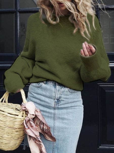 New Green Round Neck Long Sleeve Casual Pullover Sweater