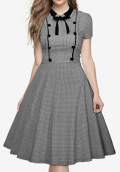 Black White Plaid Bow Buttons Turndown Collar Round Neck Short Sleeve Midi Dress