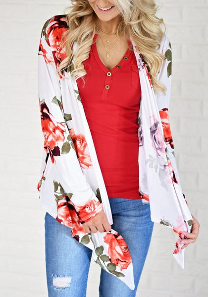 White Floral Irregular Long Sleeve Casual Cotton Coat