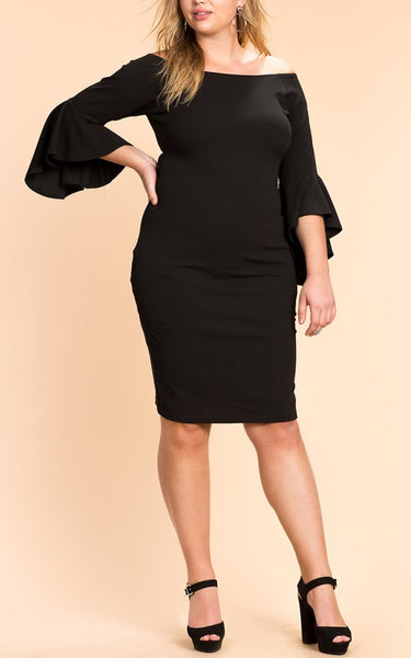 Black Ruffle Zipper Off Shoulder Bodycon Plus Size Party Midi Dress