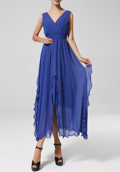 Blue Irregular Cleavage Slit Bohemian Sleeveless Chiffon Maxi Dress