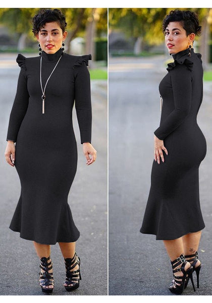 Black Ruffle Mermaid Band Collar Long Sleeve Elegant Office Worker Party Midi Dress