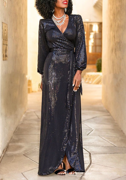 Black Grenadine Sequin Sashes Slit Banquet Formal Deep V-neck Party Maxi Dress