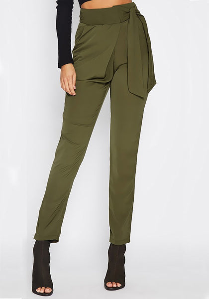 Army Green Pockets Sashes Lace-up High Waisted Casual Work Up Pencil Long Pants
