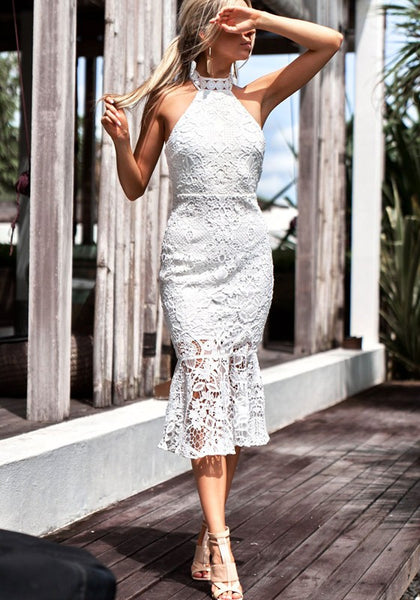 White Patchwork Tie Back Cut Out Round Neck Midi Dress