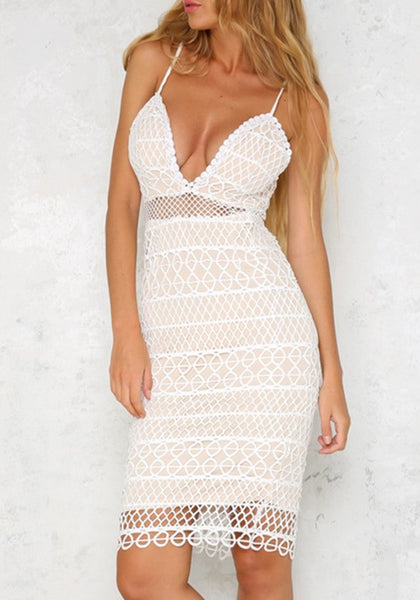White Geometric Fishnet Spaghetti Strap Zipper Slit Deep V-neck Party Midi Dress