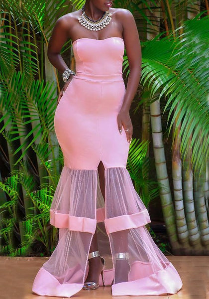 Pink Patchwork Grenadine Draped Slit Off Shoulder Backless Elegant Banquet Party Maxi Dress