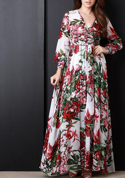 White Floral Draped V-neck Long Sleeve Bohemian Chiffon Maxi Dress