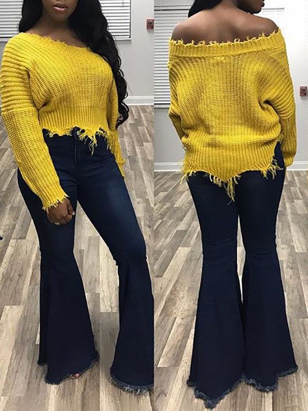 New Yellow Irregular Off Shoulder V-neck Fashion Cute Pullover Sweater
