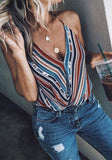 Blue Striped Print Condole Belt V-neck Fashion Vest
