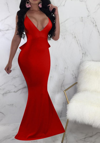 Red Ruffle Spaghetti Strap Backless Mermaid Deep V-neck Elegant Party Maxi Dress