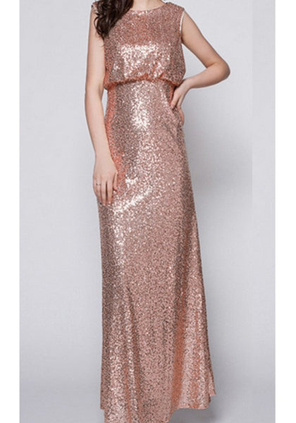 Champagne Sequin Cut Out Backless Wedding Party Evening Maxi Dress