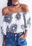 White Floral Bandeau Ruffle Print Puff Sleeve Off Shoulder Blouse