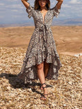 Leopard Print Cascading Ruffle Knot Deep V-neck High-Low Swallowtail Bohemian Maxi Dress