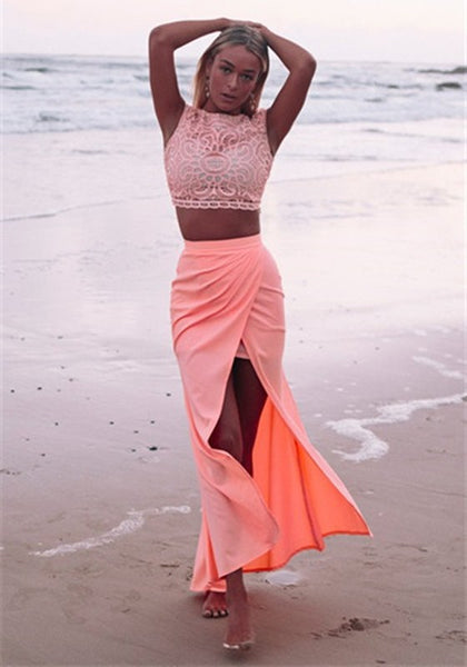 Pink Patchwork Slit Lace 2-in-1 Hollow-out Maxi Dress