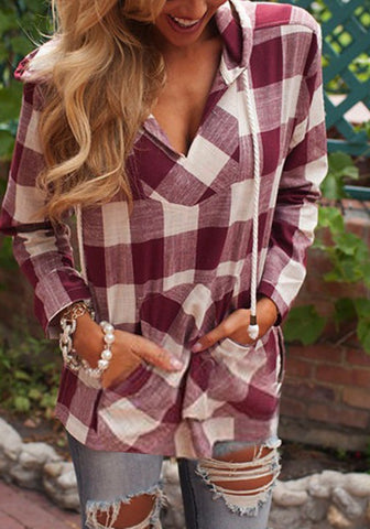 Red Plaid Pockets Drawstring Hooded Casual Blouse
