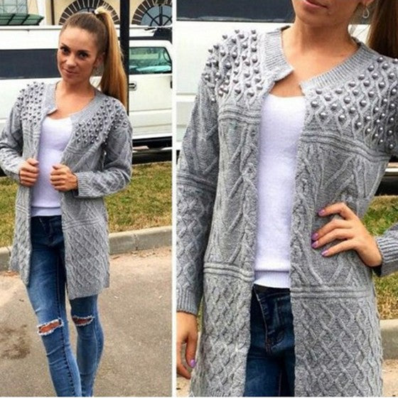 Grey Patchwork Beading Round Neck Long Sleeve Casual Cardigan Sweater