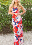Pink Floral Cross Back Pleated Bodycon Beach Backless Clubwear Bohemian Maxi Dress
