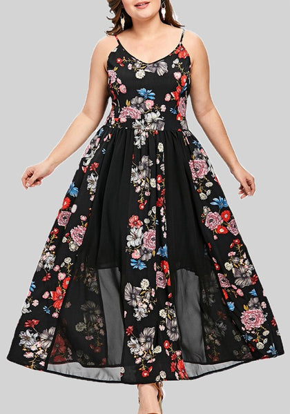 Black Floral Grenadine Pleated Backless Plus Size Elegant Sweet Banquet Party Maxi Dress