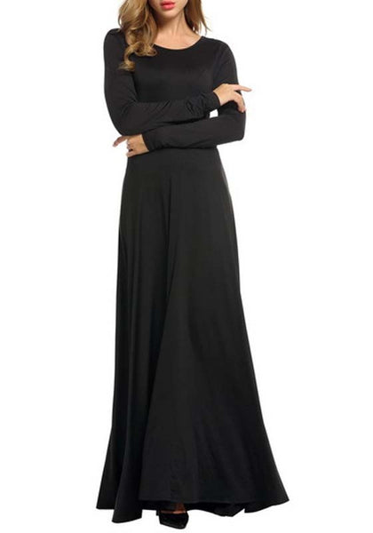 Black Draped Bow Lace-up Round Neck Banquet Elegant Party Maxi Dress